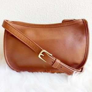 Coach All Leather Minimalist Crossbody Mini Bag